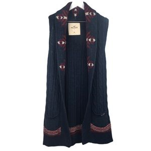Hollister Long Wool Blend Duster Sweater Vest